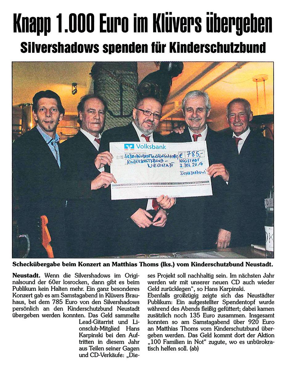 Pressemitteilung. Silvershadows spenden 1000 Euro