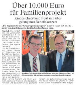 Benefizkonzert am 14. Mai in Neustadt erlöst über 10.000 Euro