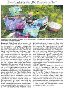 Kunstauktion in Neustadt für 100 Familien in Not